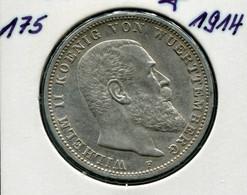 Württemberg König Wilhelm II., 3 Mark Von 1914, Silber 900, Ss - Sehr Schön - 2, 3 & 5 Mark Silber