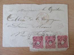 Alsace / Sarreguemines / Saargemund 1875 - Cachet Rouge Allemagne Nancy + Port-Dû - Envoi Pour Un Militaire - 1849-1876: Periodo Classico
