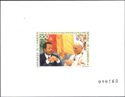 CAMEROON - NUMBERED DELUXE PROOF - IMPERFORATE SHEET -  POPE JOHN PAUL II BLOCK MINT NOT HINGED SOUVENIR C - Pausen