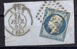 """FRANCE : OBLITERATION LOSANGE SUR FRAGMENT : PC 2145  """"  Lyon Rhone  """" . A SAISIR . - 1849-1876: Période Classique"""