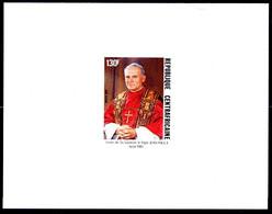 REPUBLIQUIE CENTRAFRICA - DELUXE PROOF - IMPERFORATE SHEET - POPE JOHN PAUL II BLOCK MINT NOT HINGED SOUVENIR C - Pausen
