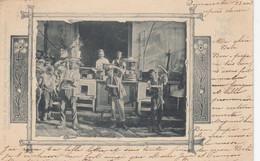 NAPOLI-SALUTI DA...MANGIAMACCHERONI-IN STILE LIBERTY-CARTOLINA  VIAGGIATA IL 25-4-1904 - Napoli