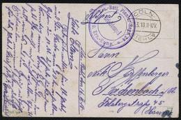 DT. REICH 1918, FELDPOST, STPL CÖLN-RIEHL + BRFST, FARBIGE ANSICHTSKARTE VOM DOM - Occupation 1914-18