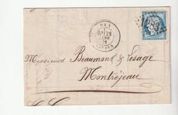 Lettre Avec Classiques De France: Cérès N°60, G.C. 1283 Dax, 1876 - 1871-1875 Ceres