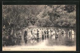 CPA Lac-Sauvin, Colonie Du Lac-Sauvin, La Baignade Dans La Cure - Non Classés