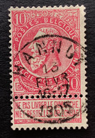 Leopold II Fijne Baard OBP 58 - 10c Gestempeld  EC HANNUT - 1893-1900 Thin Beard
