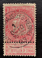 Leopold II Fijne Baard OBP 58 - 10c Gestempeld  EC ETTERBEEK CHAUSSEE ST PIERRE - 1893-1900 Schmaler Bart