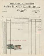 Facture - Walter Blanchez-Lheureux -Manufacture De Chaussures - La Bouverie - 1954 - Old Professions