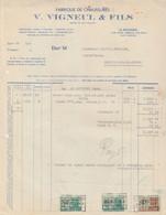 Facture - V. Vigneul & Fils - Fabrique De Chaussures - La Bouverie - 1949 - Old Professions