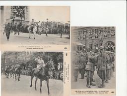 5 CPA:PARIS (75)FÊTES DE LA VICTOIRE EN 1919 MARÉCHAL PÉTAIN,FOCH DÉCORE UN POILU,GÉNÉRAL MANGIN,CÉNOTAPHE NUIT - Altri