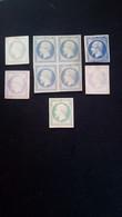 France Timbres Nap III Non Lauré 25 Cent. X 9 Essais De Couleurs 1 Bloc De 4 + 5 Différents Sur Papier Carton, 1 Recto V - Proefdrukken