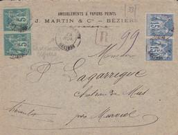 HERAULT (33) -  CHARGEMENTS BEZIERS Cachet Type 18 Sur Enveloppe Recommandée Affranchie Au Type Sage  - - 1877-1920: Periodo Semi Moderno