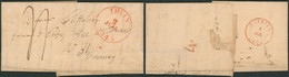 """Précurseur - LAC Datée De Thuin (1845) + Cachet Dateur, Port 4 Décimes > Tournay + Verso N° De Vacation En Rouge """"4"""" - 1830-1849 (Independent Belgium)"""