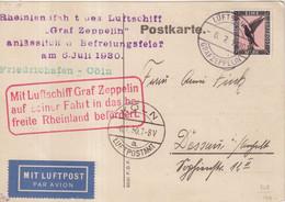 """ALLEMAGNE : PA . CP . ZEPPLIN LZ 127 . """" FRIEDRICHAHAFEN - COLN """" . 1930 . - Briefe U. Dokumente"""