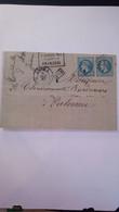 """Lettre Courrier YT 22 """" Napoléon III Paire Dentelée 20c. Bleu """" 1862 Obl. Losange Ancre PD Palerme - 1863-1870 Napoleon III Gelauwerd"""