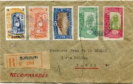 COTE FRANCAISE DES SOMALIS LETTRE RECOMMANDEE DEPART DJIBOUTI ? JAN 38 COTE FRANCAISE DES SOMALIS POUR LA FRANCE - Covers & Documents