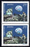 POLAND 1969 SPACE 1ST MANNED LUNAR LANDING - MAN ON THE MOON PAIR NHM Armstrong Aldrin Collins USA View Of Earth Crater - Ongebruikt