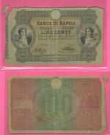 Banco Di Napoli 100 Lire 29 Gennaio 1877 Firme Ascione - Nappa Tiratura 480.000 Pz Rarità 4 - Other
