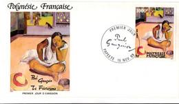 Papeete 1989 - FDC Paul Gauguin - Faciale 1000 Francs CFP !! - Peinture Painting Art - Chien Dog - FDC