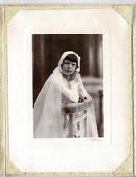 Photo :communion  Jolie Jeune Fille , Photographe  G. CHAMPROUX ET R . DENIEAU à Beaumont Sur Sarthe  . - Old (before 1900)