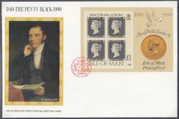 ISLE OF MAN Block 12, FDC, 150 Jahre Briefmarken, 1990 - Isola Di Man