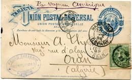 URUGUAY ENTIER POSTAL AVEC AFFRANCHISSEMENT COMPLEMENTAIRE DEPART MONTEVIDEO 26 SET 89 POUR L'ALGERIE - Uruguay