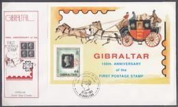 GIBRALTAR  Block 15, FDC, 150 Jahre Briefmarken, 1990 - Gibilterra