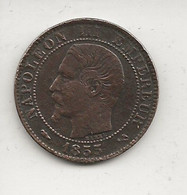 FRANCE / Pièce De Cinq 5 Centimes Napoléon III Tête Nue 1855 B    état :B - C. 5 Centesimi