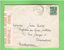 LETTRE OUVERTE PAR CENSURE EN AFRIQUE DU SUD 1940 DEPART BONNAT CREUSE POUR TANANARIVE MADACASCAR TIMBRE IRIS N° 432 - Brieven En Documenten