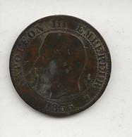 FRANCE / Pièce De Cinq 5 Centimes Napoléon III Tête Nue 1855 K    état :usée Mais En Partie Lisible - C. 5 Centimes
