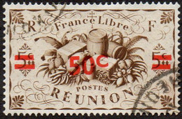 Réunion Obl. N° 252 - Détail De La Série De LONDRES Surchargé En 1945 - Productions - 50c Sur 5 C Sépia - Oblitérés