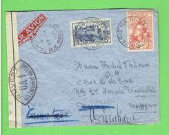 LETTRE OUVERTE PAR CENSURE MILITAIRE 1939 PARIS POUR MANAKARA MADAGASCAR TIMBRES  N° 392 ET 428 PAR AVION - Storia Postale