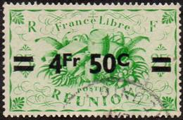 Réunion Obl. N° 258 - Détail De La Série De Londres Surchargé En 1945 - Productions - 4f50 Sur 25c Vert - Oblitérés