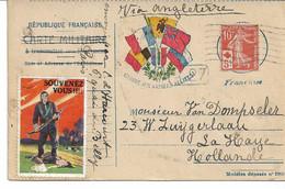 """CARTE Franchise Militaire WW1  Correspondance Des Armées De La République Vignette """" Souvenez Vous """" Tp Croix-rouge - Vignette Militari"""