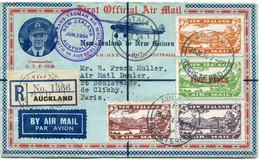 """NOUVELLE-ZELANDE LETTRE RECOMMANDEE PAR AVION AVEC CACHET """" TRANS - TASMAN AIR MAIL NEW ZEALAND JUN 1934 AUSTRALIA....."""" - Posta Aerea"""