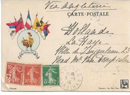 CARTE Franchise Militaire WW1  Correspondance Des Armées De La République TP Croix-rouge Vers La Hollande Via Angleterre - Lettere In Franchigia Militare