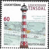 Germany 2021, Lighthouse Leuchtfeuer Tinsdal, MNH Single Stamp - Nuevos