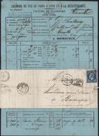 YT 14 Empire ND 20ct Bleu PC 1818 Cachet Après Départ CAD T15 Lyon 31 OCT 60 Chatanay Bougies Bordereau Chemin De Fer - 1849-1876: Klassieke Periode