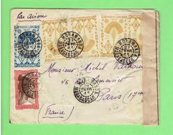 MADAGASCAR 1945 LETTRE OUVERTE PAR CONTROLE POSTAL MILITAIRE MORAMANGA POUR PARIS PAR AVION TIMBRE N° 176A. 271. 273 - Covers & Documents