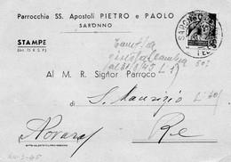 CG70 - Cartolina Postale Parrocchia Di Saronno 21/3/1945 Per Re - Marcofilía