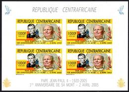 REPUBLIQUIE CENTRAFRICA - IMPERFORATE BLOCK SHEET - POPE JOHN PAUL II  - MINT NOT HINGED SOUVENIR C - Pausen