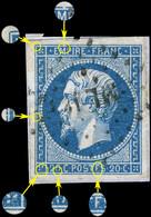 "France - Yv.14A 20c Empire ND T.1 Var. ""POSTFS"" Pos. 076D2 (6è état) - Obl. Ambulant ML 2° - TB - 1853-1860 Napoleon III"