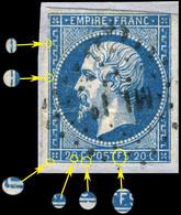 "France - Yv.14A 20c Empire ND T.1 Var. ""POSTFS"" Pos. 080D2 (4è état) - Obl. Ambulant ML 2° - B - 1853-1860 Napoleon III"