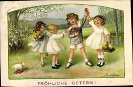Artiste CPA Ebner, Pauli, Glückwunsch Ostern, Kinder, Ostereier - Unclassified
