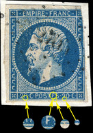 "France - Yv.14A 20c Empire ND T.1 Var. ""POSTFS"" Pos. 085D2 (4è état) - Obl. Pc 2703 (Rochefort-s/Mer) - 2nd Choix - 1853-1860 Napoleon III"