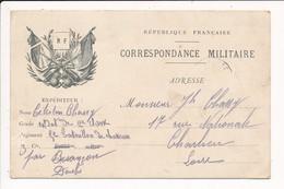 Carte En Franchise Militaire CHASSY CELESTIN 5e Bataillon De Chasseurs à Pied BESANCON - Franchise Stamps