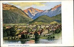 Artiste CPA Interlaken Kt. Bern Schweiz, Gesamtansicht, Jungfrau - BE Berne