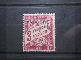 VEND BEAU TIMBRE TAXE D ' ANDORRE FRANCAIS N° 8 , X !!! - Nuovi