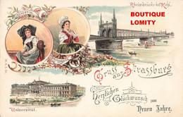 67 Strasbourg Strassburg Gruss Aus Elsasserin Lothringerin Universitat Rheinbrucke Bei Kehl Illustration - Strasbourg