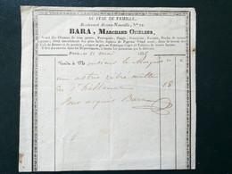 75 ,paris  ,facture ,1835 ,Bara ,marchand Oiseleur,perroquets,singes......dim. 17 Cm / 16 Cm - 1800 – 1899